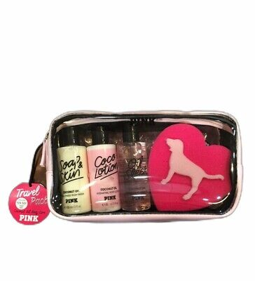 VICTORIA SECRET PINK TRAVEL PACK COCONUT OIL BODY CARE GIFT -