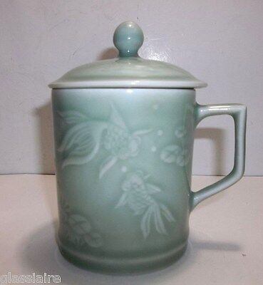Vintage Chinese CELADON TEA CUP With LID Incised KOI Fish LILY PAD Lotus Flowers