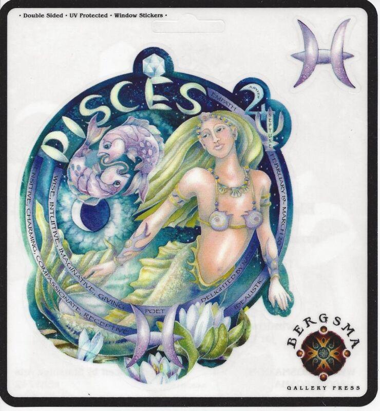 PISCES Zodiac Fairy Stickers Car Decals Jody Bergsma astrology symbol sticker