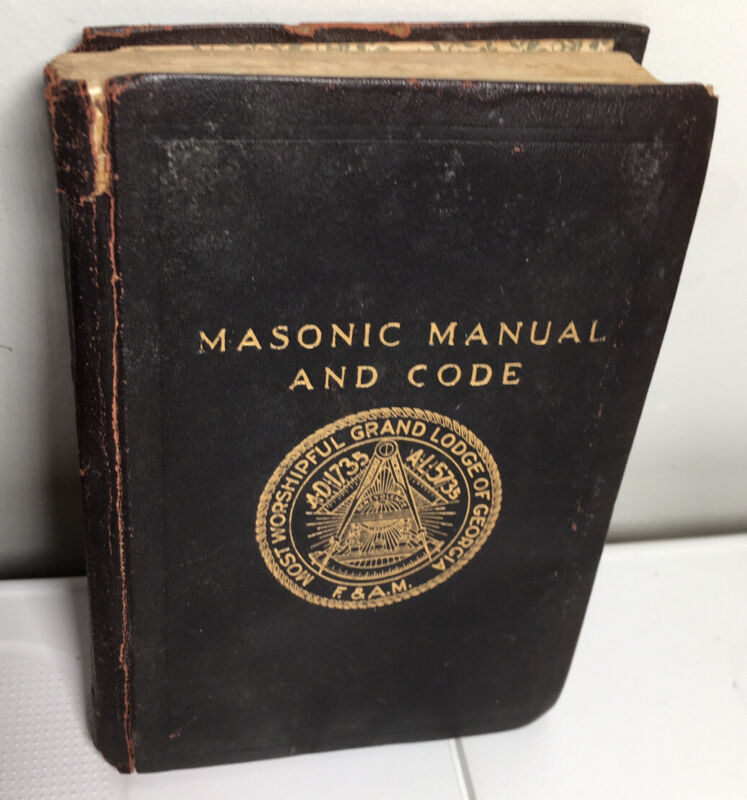"Vintage 1925 Masonic Manual & Code Grand Lodge Of Georgia 3-3/4"" X 5-3/8"""