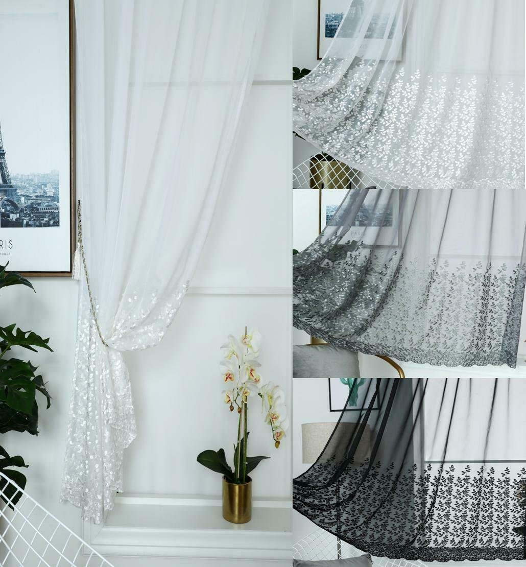 """Slot Top Voile Panels Floral Embroidered Net Curtain MILLY WHITE 48/"""" 122cm Drop"""