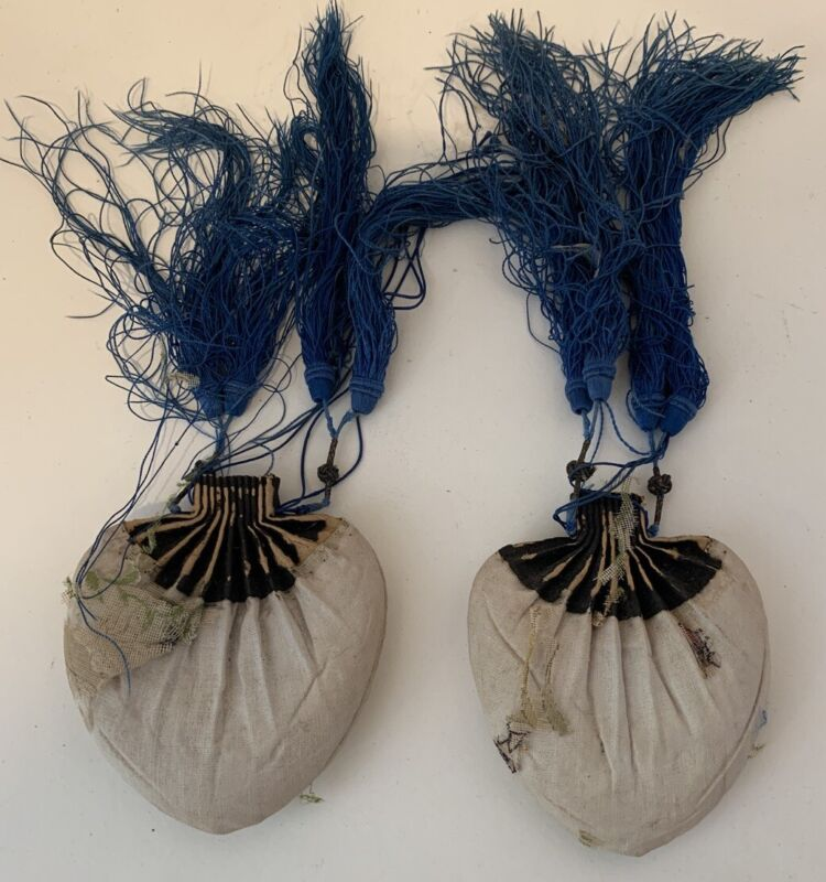 Chinese Antique Silk Pouch Tassel Pair