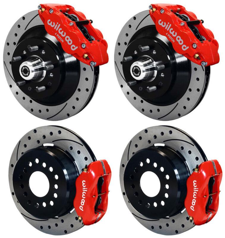 "Wilwood Disc Brake Kit,70-78 Gm,13""/12"" 1 Piece Drilled Rotors,6/4 Piston Red"
