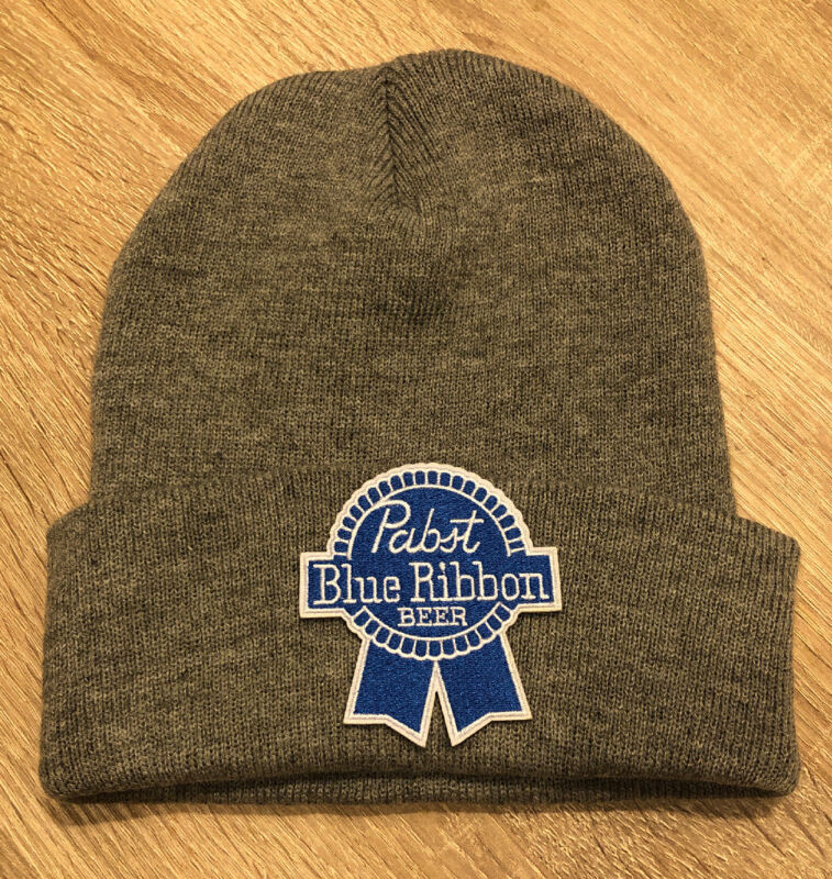 PBR Pabst Blue Ribbon Beer Embroidered Patch Beanie Toboggan American Gray