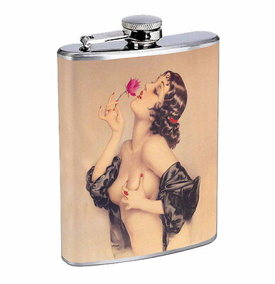 Flask 8oz Stainless Steel Exemplary Vintage Model Pin Up Girl D 10 Whiskey