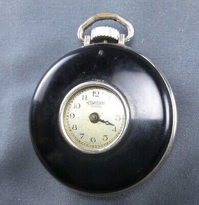 Antique Ingersoll Cord Pocket Watch Black Enamel Case ~ wound tight