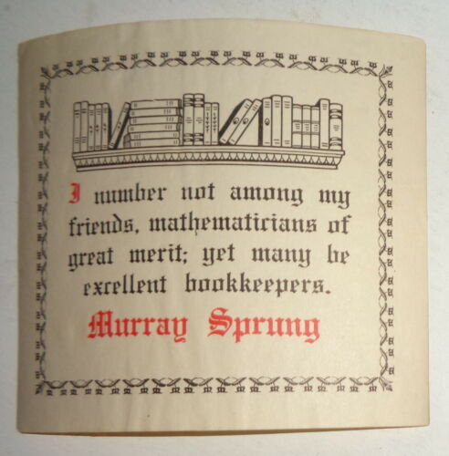 Murray Sprung - Ex Libris Bookplate