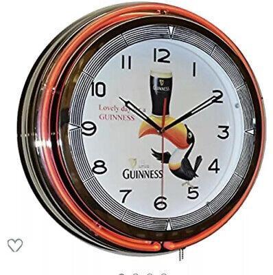 """18"""" GUINNESS Beer Sign Orange Double Neon Clock"""