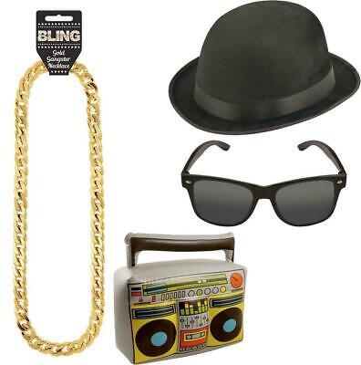 Adults Rapper Boom Box Gold Chain Glasses And Hat Set Hip Hop Accessory Set 4Pcs