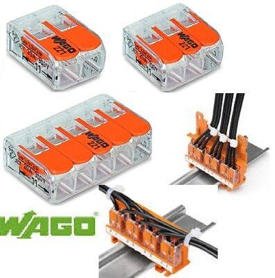 borne de connexion 2-3-5 entrées fil souple rigide wago 221 lot de 5 à 50 pièces
