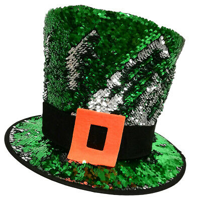 Kids Leprechaun Hat Green 2 Way Sequin  for Festive Occasions St. Patrick's Day