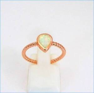 STERLING SILVER & ROSE GOLD FILLED WHITE FIRE OPAL INLAY RING. Rothwell Redcliffe Area Preview