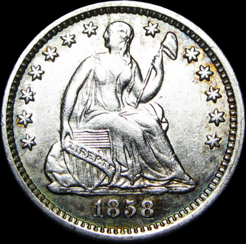 1858-O Seated Liberty Half Dime Silver US Type Coin ---- STUNNING ---- #A434