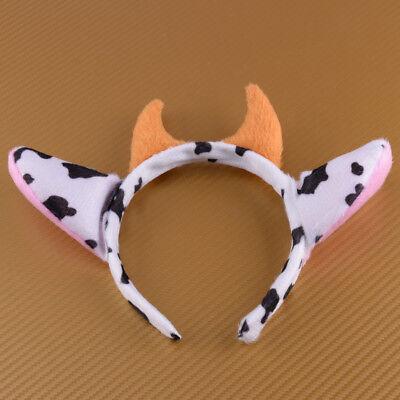 Kuhohren Hörner Haarreifen Tier Ohren Stirnband Halloween Party - Tier Hörner Kostüm