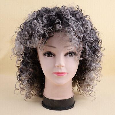 Kurze Afro Curly Mix graues Haar Perücke mit - Perücken Billig
