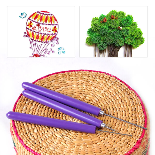 3pcs Origami DIY Paper Quilling Tools Assorted Needles & Slotted Tool Papercraft