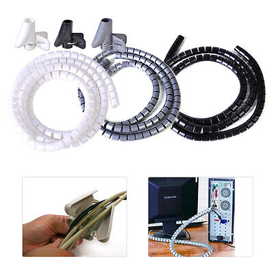 1 5M Flexible Spiral Cable Cord Band Wire Wrap Tube Management Organizer   Clip