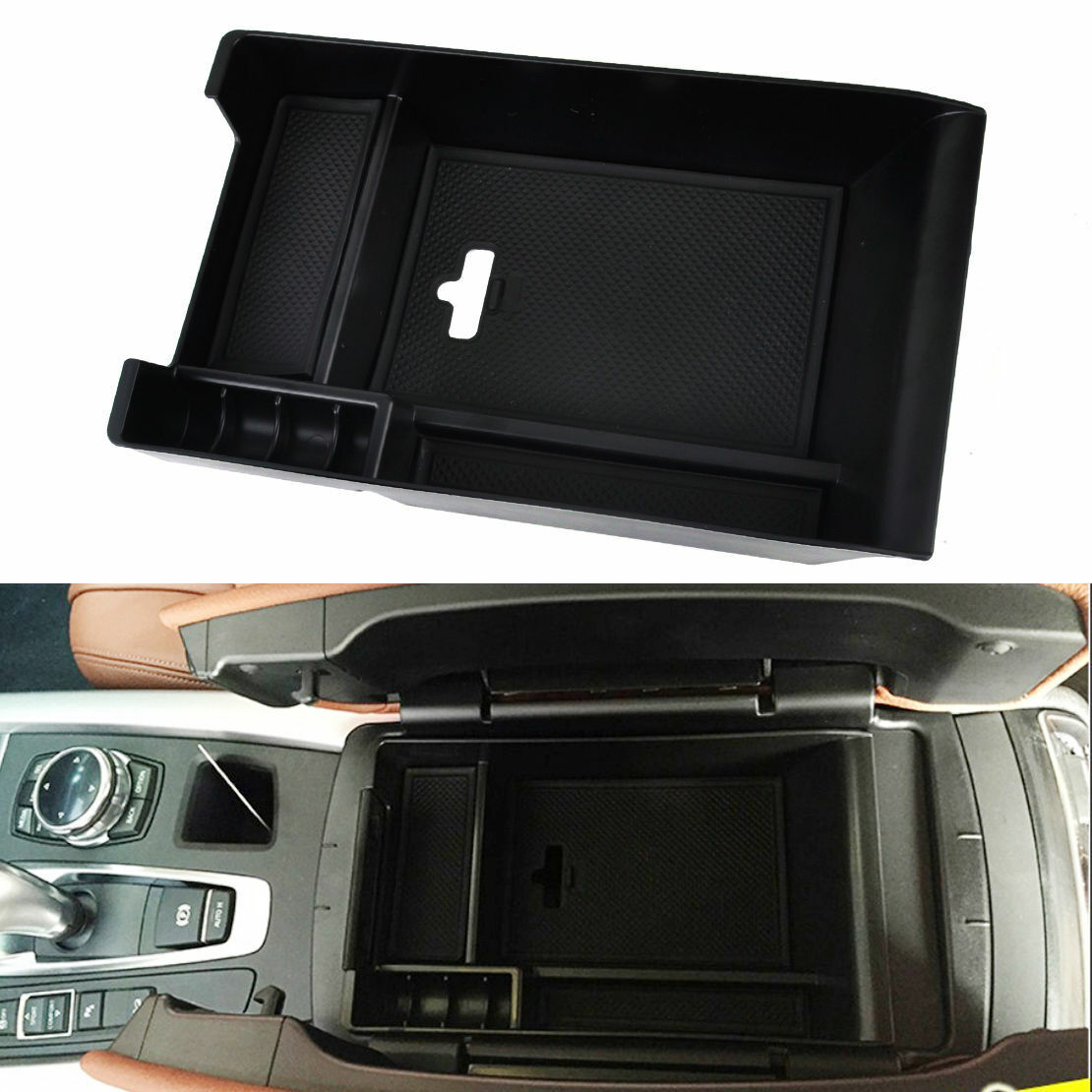 Scoorcar Center Armrest Storage Box for BMW X5 X6 F15 F16 Car-Styling 2014-2018 Phone Glove Tray with Mat Interior Accessories