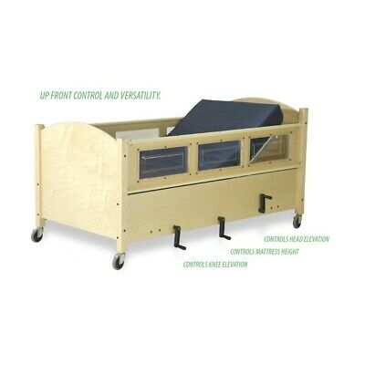 Sleepsafe Manual Hi -low Oak Color Paddedtwin Size Medical Safety Bed
