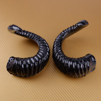 2stk Große Schwarze Künstliche Ram Horn Gothic Hörner Halloween Kostüm Cosplay