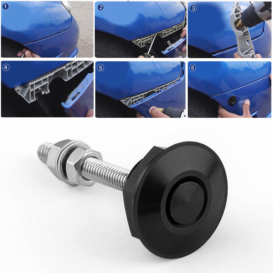 Black Quick Release Car Push Button Hood Pin Lock Low