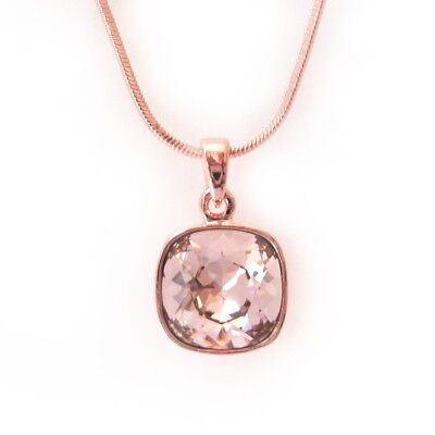 Blush Rose Crystal Drop RoseGold Necklace w/12mm Swarovski Cushion Cut Pendant