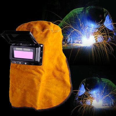 Solar Auto Leather Face Welding Helmet Mask Darkening Filter Lens Welder Hood