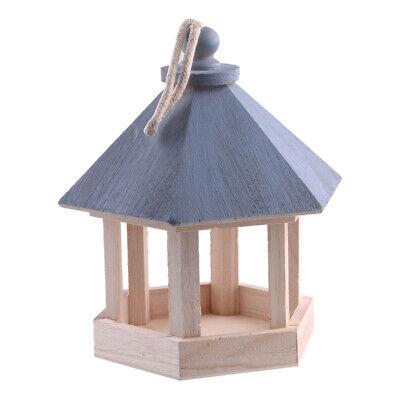 Wooden Hanging Gazebo Wild Bird Feeder House Safe Outdoor Garden Feeding Station