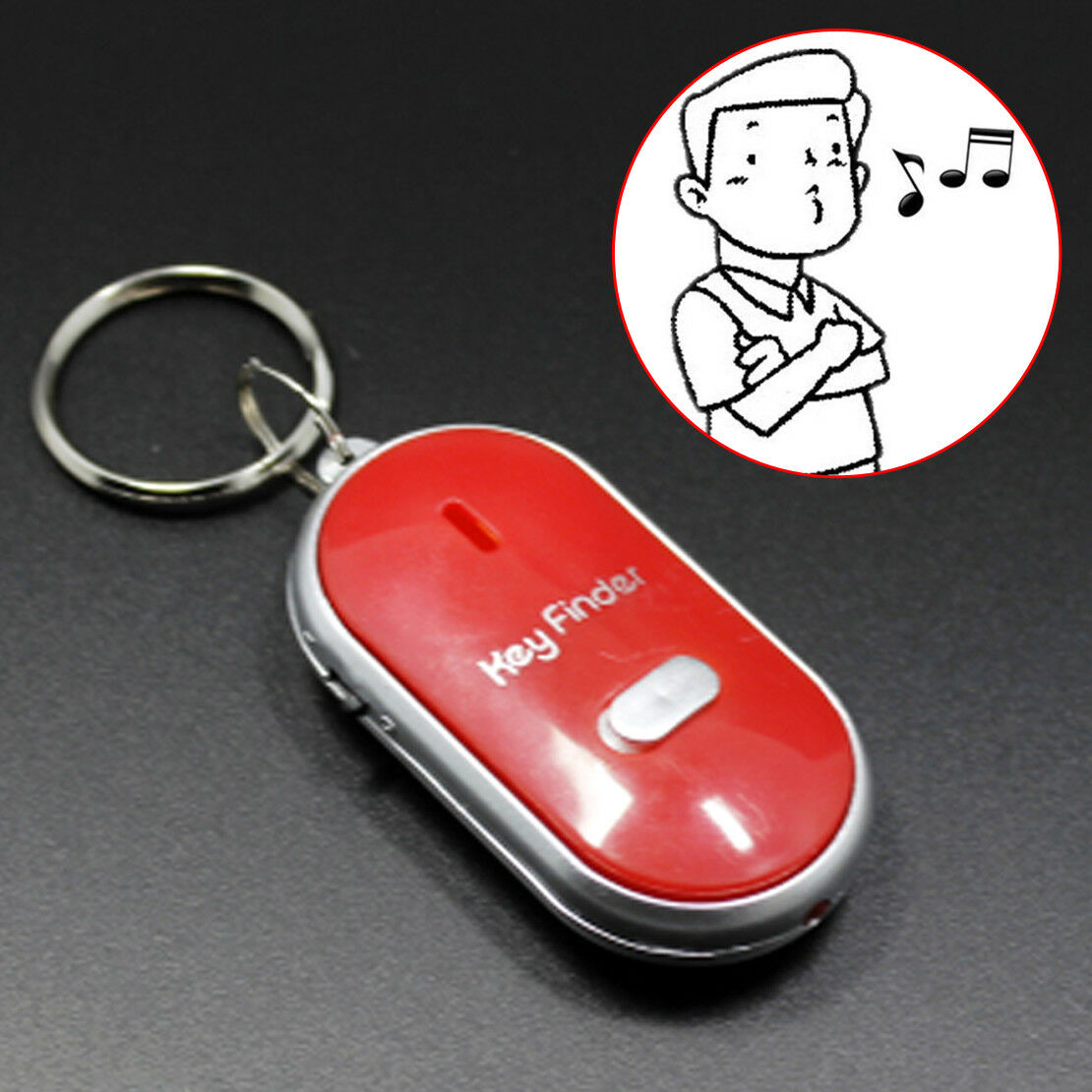 1x LED Key Finder Locator Find Lost Keys Keychain Whistle Sound Key Rings Blue