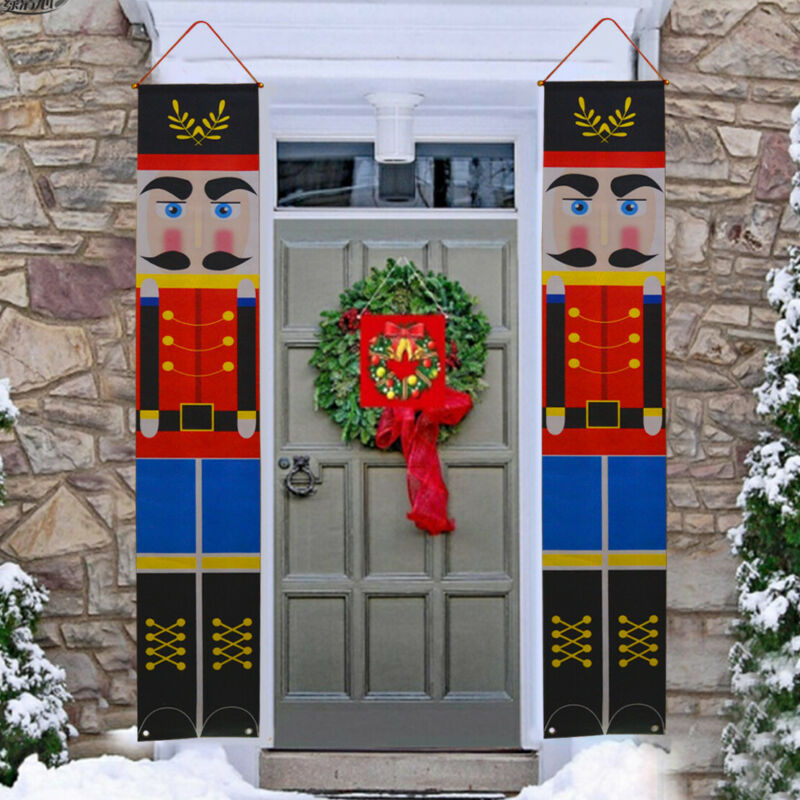 Pair+Merry+Christmas+Nutcracker+Soldier+Banner+Flag+Xmas+Home+Party+Decor