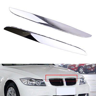 2Pack Front Hood Chrome Cover Trim Above Grille For BMW E90 E91 3-Series 06 07