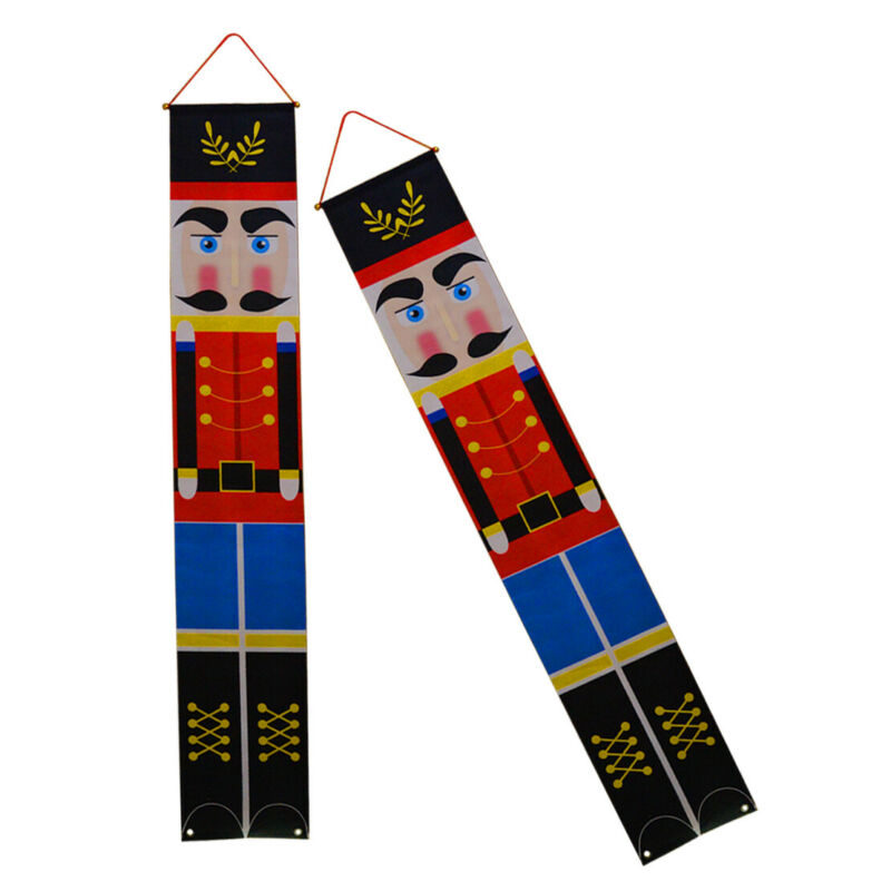 Pair+Christmas+Nutcracker+Soldier+Banner+Flag+Wall+Hanging+Xmas+Party+Decor