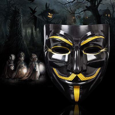 2X V wie Vendetta Anonymous Maske Gold Mask Karneval Halloween Kostüm Schwarz (Gold Kostüm Maske)