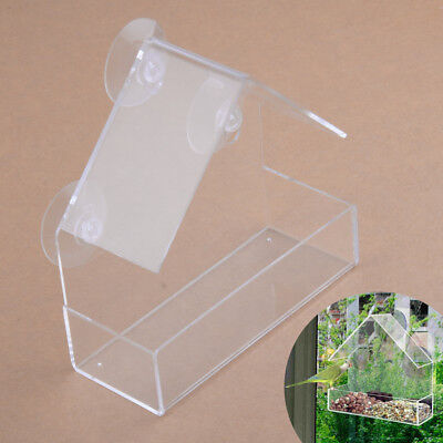 Clear Bird Squirrel Feeder Tray Birdhouse Window With Suction Cup Mount Hanging