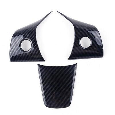 3pcs Carbon Fiber Steering Wheel Button Frame Cover Fit For Tesla Model 3 17-19