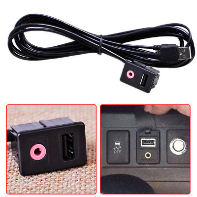 Car Dashboard Panel Audio Flush Mount  Adapter Cable USB 3.5mm AUX Male Mounting, used for sale  Shipping to Canada