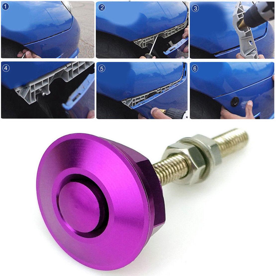 Purple Quick Release Car Push Button Hood Pin Lock Low