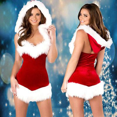 Santa Weihnachtskostüm Kleid Damen Weihnachtsmann Weihnachts Party - Weihnachts Kostüm Kleid