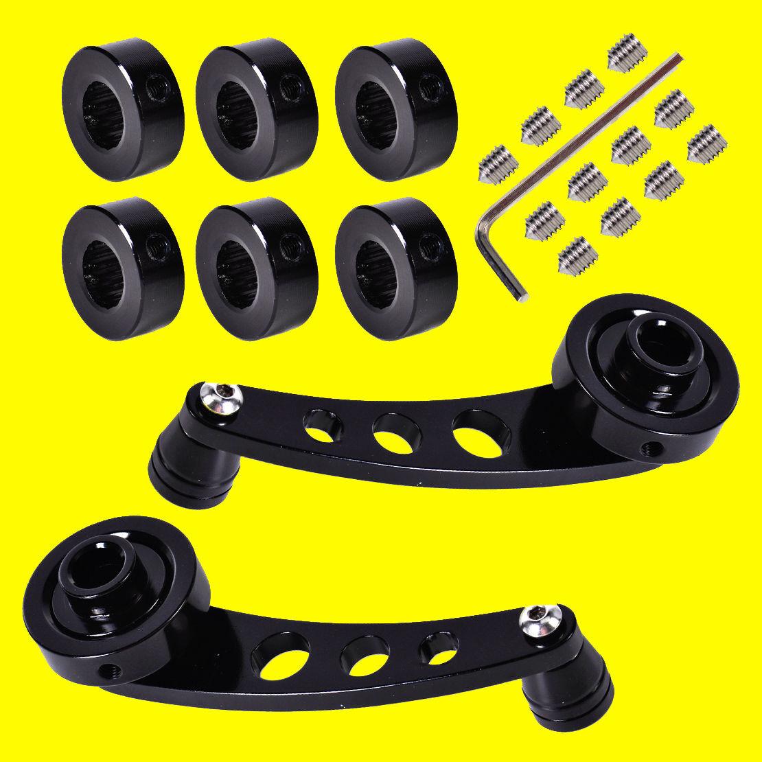 Black, 2 pairs Billet Manual Door Handle Cranks Window Winders Set Compatible with Toyota Ford Chevrolet Dodge Honda