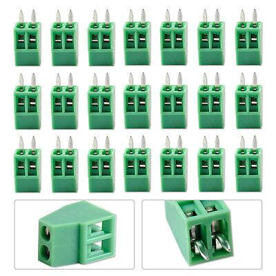 Green 50pcs 2 Pin 2 Way 2.54mm 0.1 Pitch Pcb Screw Terminal Block Connector