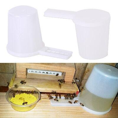 2x White Beekeeping Honey Entrance Water Drinker Bee Feeder Bottle Set Hive Tool