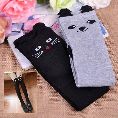 Paar Damen Knie Katze Socken Schenkel Strümpfe Baumwolle Overknee Kniestrümpfe
