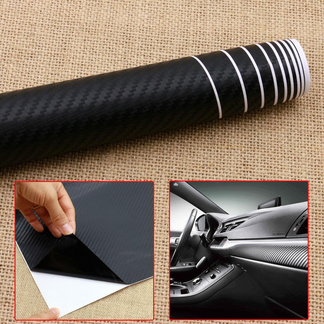 """Black 3D Carbon Fiber Vinyl Car DIY Wrap 50"""" X 12"""" Sheet"""