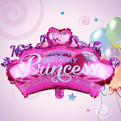Diamond Princess Crown Balloon Pink Foil Balloon Birthday Party Supplies - Princess Crown Balloon