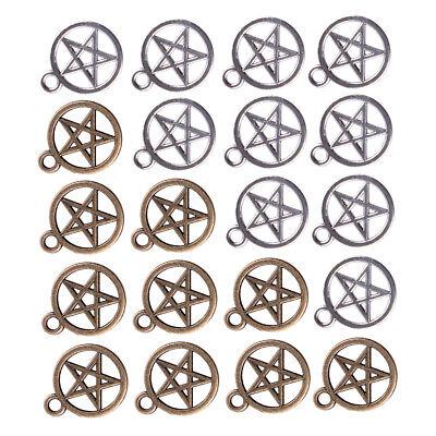 100X Pentagramm Stern Charms Anhänger für Kette Runde Gothic Armband Halskette ()