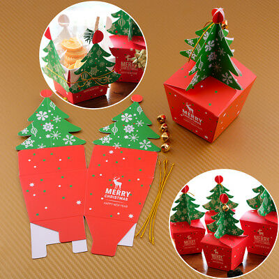 Candy Apple Boxen (5 Christmas Tree Packing Box Cupcake Cookies Candy Gift Apple Box Wedding Favour)