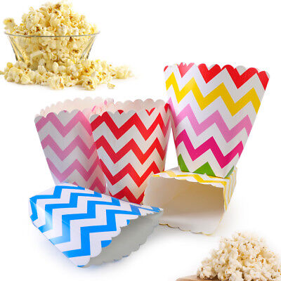 36x Gestreifte Popcorn Box Zucker Snack Popcorn Tasche Papierkasten Party