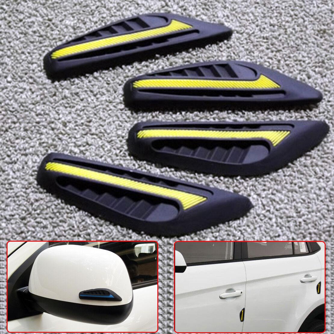 4x Rubber Car Door Edge Guard Strip Protector Side Mirror Anti-collision Yellow