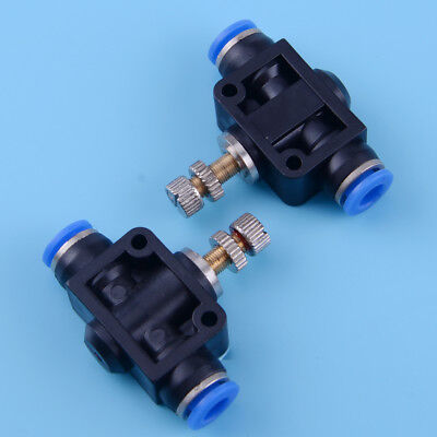 2pcs 6mm Air Flow Speed Control Valve Tube 14 Pneumatic Push In Quick Fitting