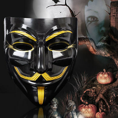 V for Vendetta Guy Fawkes Mask Anonymous Halloween Cosplay  Dress Costumes